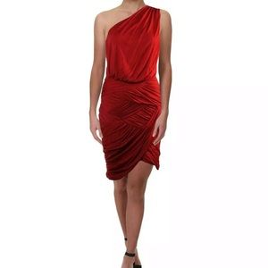 Halston Heritage Red One Shoulder Cocktail Small